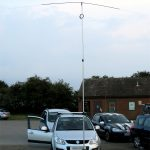 Ed M0OSM in car with Rotary 20 Dipole